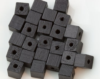 Vintage Natural Black Wood Cube Beads 7mm 25pcs for Jewelry and Crafts 10208013