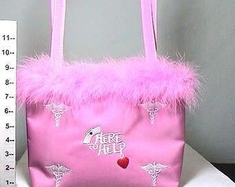 "Nurse ""Here To Help"" Hospital Pink Feather Fur Trim Purse, 70499"