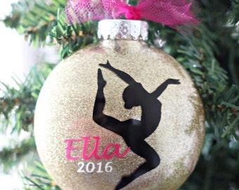 Gymnastics Christmas Ornament - Gymnastics Glitter Ornament - Gymnast Ornament