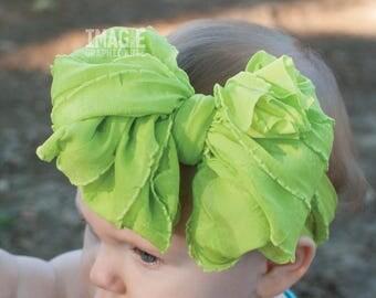 Messy Ruffle Bow Headband - Lime Green
