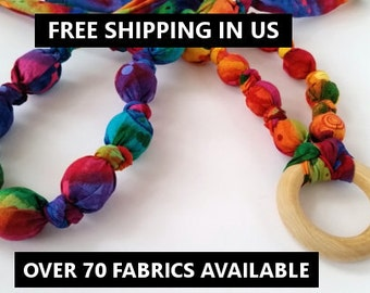 FREE SHIPPING! Fabric Teething Necklace, Teething Necklace, Nursing Necklace, Breastfeeding, Mom Necklace, Cloth Necklace, Wooden Necklace