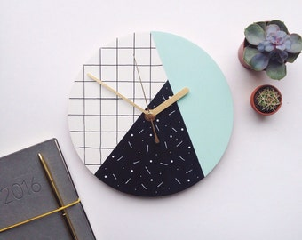 Modern wall clock   mint green, black and white   geometric grid pattern   dot dash   statement homeware   wedding gift   hand painted