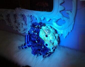 Royal blue /ivory/white Wedding / Quinceniera bouquet