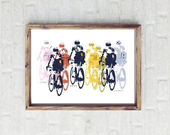 Cycling Art / Heading Off Cycling Print /  Giclee Cycling Print