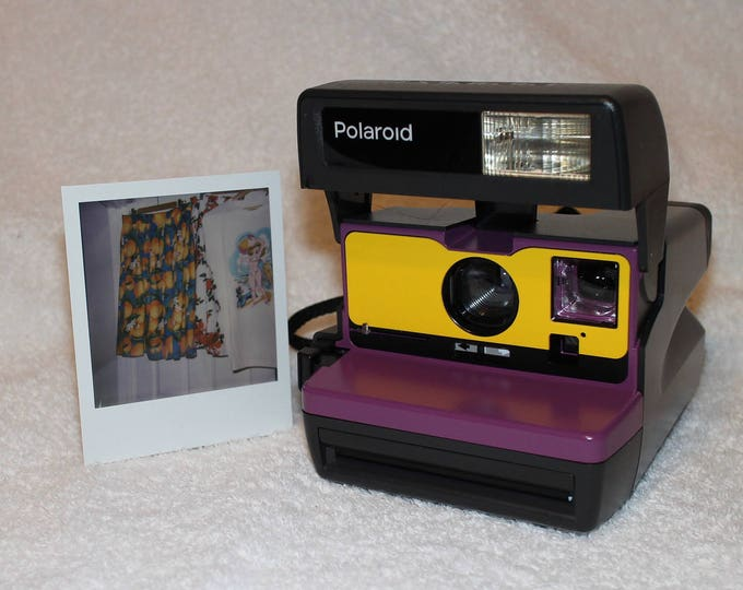 Polaroid 600 OneStep With Close Up And Flash Built-In - Ready for fun! Upcycled Purple and Yellow