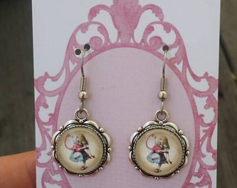 Vintage Alice in Wonderland - Alice and Flamingo earrings