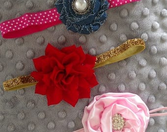 SALE!!! Set of Three  Elastic Headbands Pink Denim Red Gold Newborn-3 Months