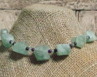 Raw green flourite necklace with amethyst and moss agate beads