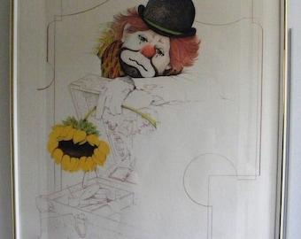 Sad Clown w/Sunflower Signed by Artist William W.Tara 1970's Framed Lithograph Art Print 23x29 Tailor Galleries Stroudsburg, Pennsylvania PA