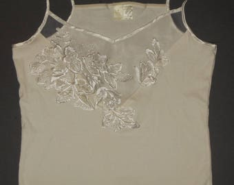Victoria's Secret Off White Cami Top Floral Embroidered Sleeveless M All Cotton Gold Crown Label