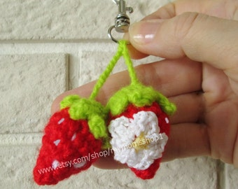 Keychain handmade. Strawberry amigurumi. Funny Keychain. Knitted keychain mini.  Crochet keychain Knit funny and cute Gift. Tiny Accessories
