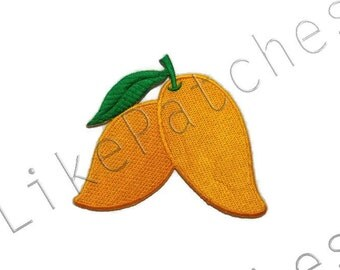 Yellow Mangoes - Fruit New Sew / Iron On Patch Embroidered Applique Size 8.7cm.x7.7cm.