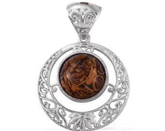 Indian Script Stone Platinum Bonded Brass Solitaire 12mm Round Cabochon Pendant Without Chain TGW 5.90 Cts.