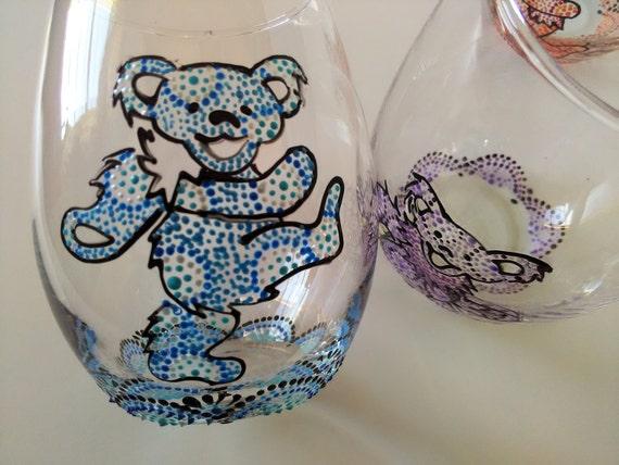 Grateful Dead Wine Glasses Dancing Bear Wine Glass Hand