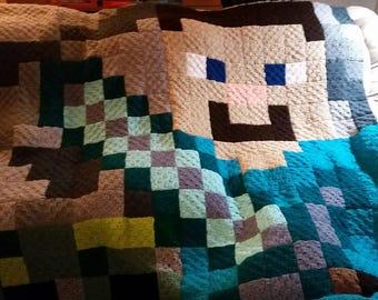 Steve & Creeper Minecraft Blanket