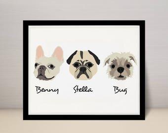 "8"" X 10"" Custom Pet Portrait Illustration, Dog Portrait, 3 dogs on 8x10 print"