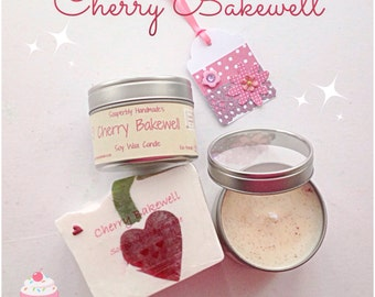 Gift Set, Cherry Bakewell, Cherry scented candle, Cherry scented soap, handmade soap, soy wax candle in a tin