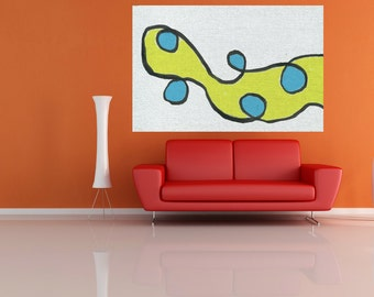 large canvas painting abstract Large yellow blue abstract painting large abstract modern art bedroom large painting wall art Home decor USA