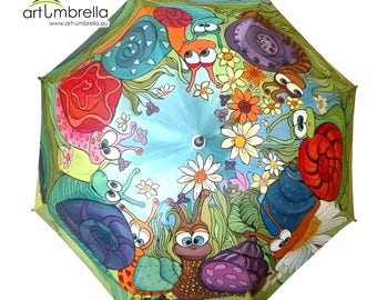 Hand Painted Umbrella • Snails in love • Animal Illustrations • Rain Umbrella • Wooden Handle • White base • Bright Colors • Personalized
