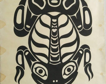 "Charles B. Greul ""Frog"" original print | vintage art | west coast art | First Nations style |"
