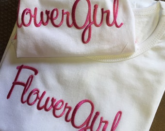 Flower Girl gift set, brief & Tee. Girls cotton brief and puff tee in white with pink embroidery,