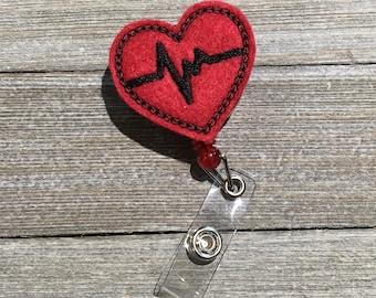 Heart Badge Holder, Badge Pull, Retractable Badge Pull