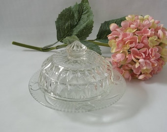 Vintage Round Windsor Diamond Pattern Pressed Glass Butter Dish, Antique Butter Dish, Collectible Retro Butter Dish, Clear Glass Butter Dish