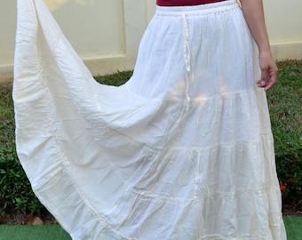Floor Length Maxi Skirt Big Plus Size Maxi Skirt Flared Maxi Skirt Pleated Long Skirt Floor Maxi Skirt Cheap Skirt Long Loose Skirt*SM-cream