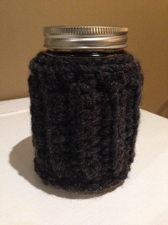 wool blend jar cozy // low impact dye / hand crocheted  / coffee cozy / tea cozy / winter camping/zero waste travel