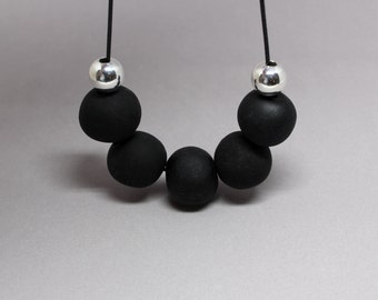 Black and Silver Necklace, Polymer Necklace, Black Bead Necklace, Black Necklace, Polymer Clay Beads