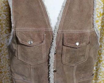 Vintage Suede and Shearling Vest
