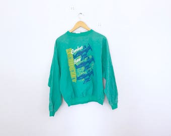 cue long sleeve graphic shirt++made in usa++size large combat air planes 80's jumper 90's jumper