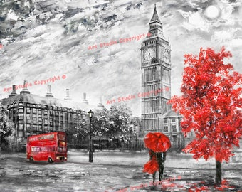 """Street of London Contemporary Art Mixed Media Charcoal Giclee, Canvas With Acrylic Em Gallery Wrap Ready To Hang Up To Size 42X34X2"""""""