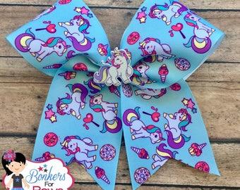 Unicorn Cheer Bow, unicorn hair bow, unicorn hair clip