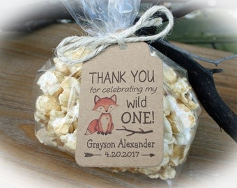 Fox Wild One Birthday Favor Kits- 25 kits- Bags/tags and ties- Just add your favors | First Birthday Party | Wild one First Birthday