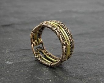 Men's Adan Woven Ring in Bronze and Brass