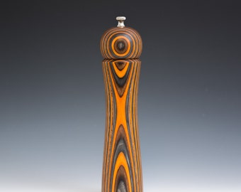 """Colorful, Handmade 10"""" Peppermill - Laminated , orange, brown and charcoal"""