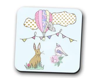 bunnies, rabbit, hare, coaster, bunny coaster, pet mum, gift for women, pretty coaster, rabbit lover gift, cute coaster,  rabbit coaster