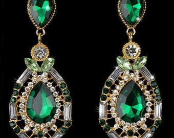 Large Green and Gold Rhinestone and Crystal Earrings, Green Crystal Earrings, Wedding Jewellery, Vintage Earrings, Bollywood, bride Jewelry