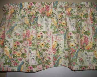 Birds Inspirational Sayings Cone Flower Black-eyed Susan Fabric Curtain Valance