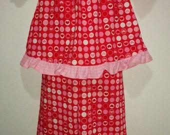 Short sleeve Girls Valentines Day Love Hearts PJs Boutique Slumber Birthday Party Cotton Pajamas Ruffle Pant Set Valentine's Love Valentine