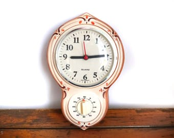 Vintage Ceramic Clock With Timer Kitchen Wall Clock German Pottery Brown  Round Shaped Quarz 60s 70s