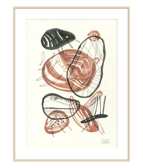 Jeu de Terre 1 - Ethnic art PRINT of abstract painting organic art - gouache & ink drawing organic shapes burgundy red by Catalina.
