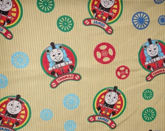 Vintage Thomas The Train & Friends Crib or Toddler Bed Flat Fitted Sheets Pillowcase Set or Craft Fabric