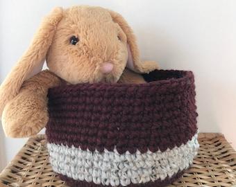 Crochet Basket: Dark Red/Grey