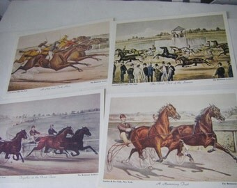 """four CURRIER & IVES LITHOGRAPHS  """"day at the races  """""""