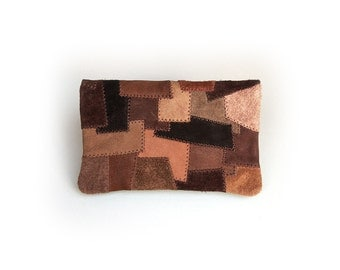Tobacco pouch made of nubuck and suede-Patchwork-