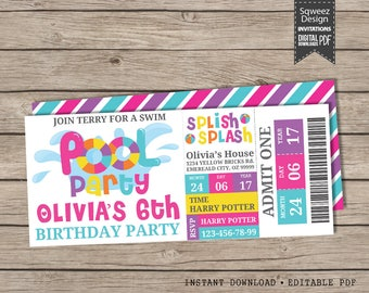 Girls Pool Party Invitation, Pool Party Birthday Invitation, Swimming Party Invitation, Birthday Invitation, - Instant Download Editable PDF