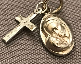 Vintage Sterling Silver Religious Virgin Mary and Cross Pendant