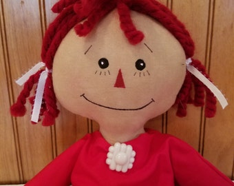 Raggedy Ann Doll - Red Polka Dot